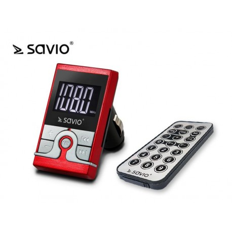 Savio Transmiter FM TR-08 AUX,USB SD czerwony